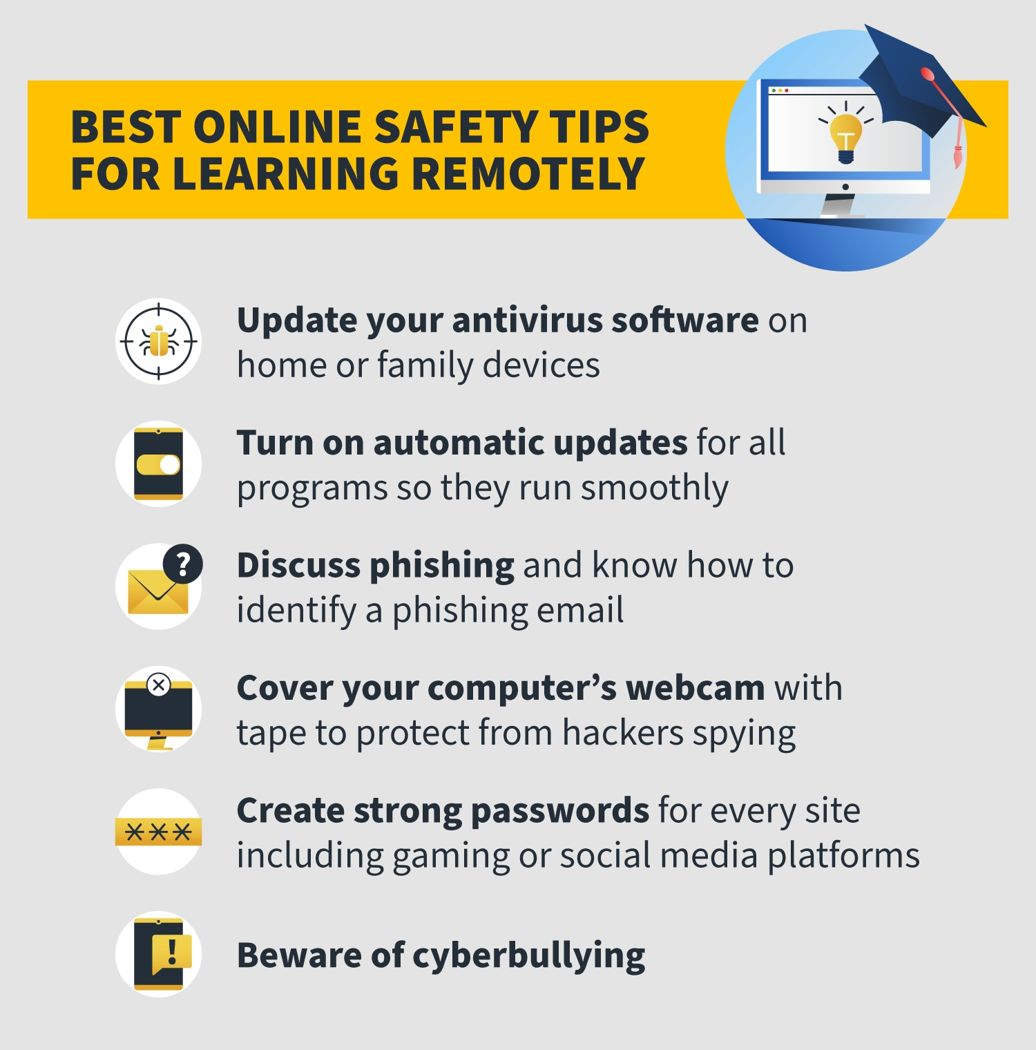 infographic on online safety tips for kids