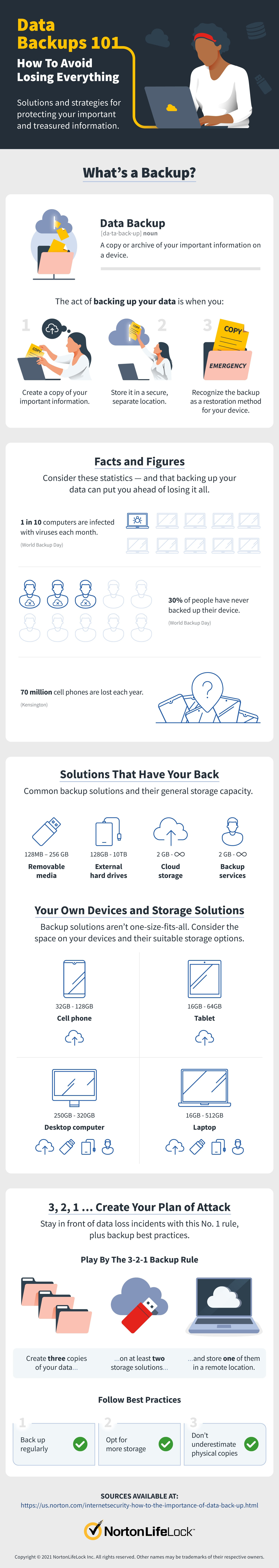 an infographic summing up data backup solutions and storage options, plus data loss statistics