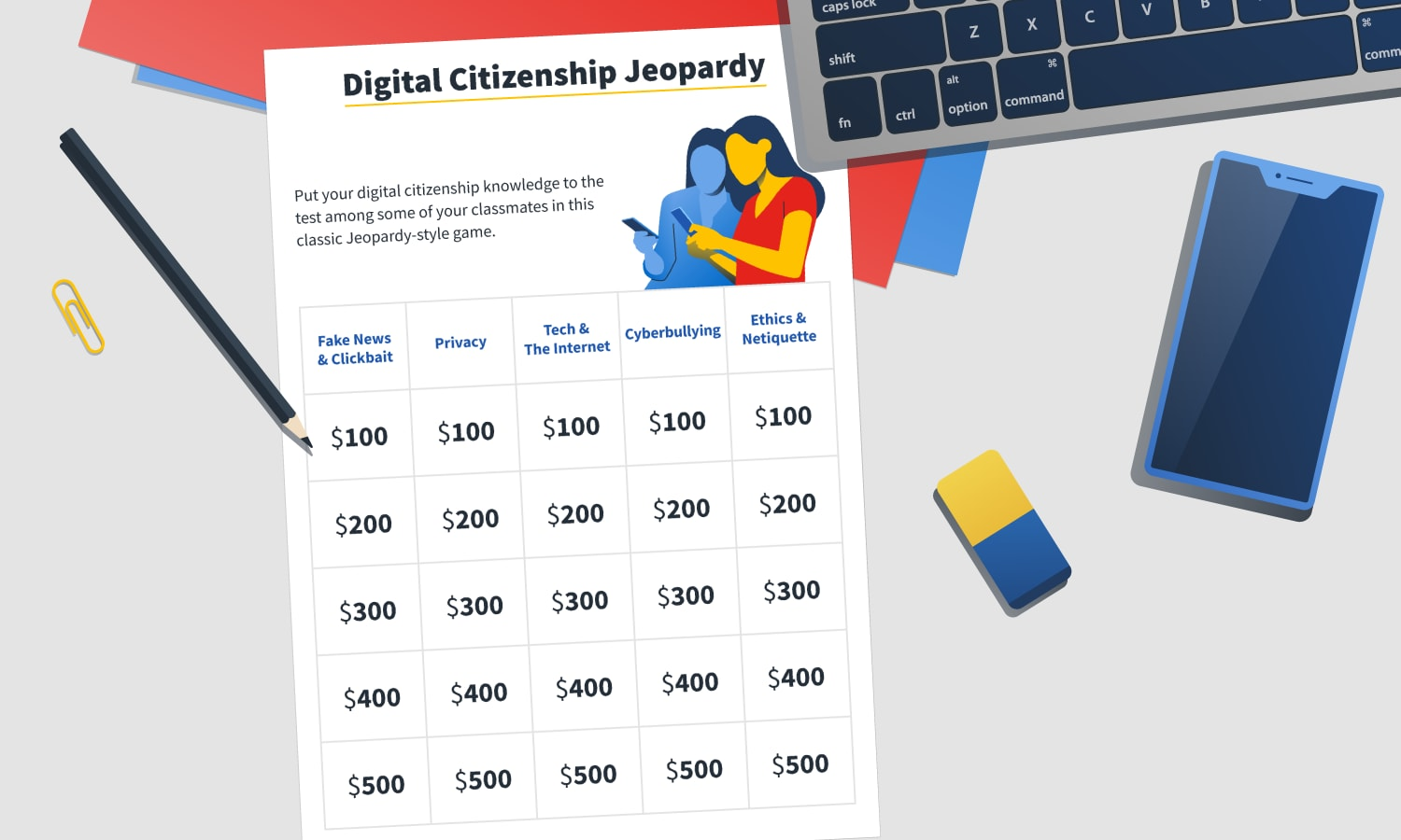 printable digital citizenship jeopardy-style game